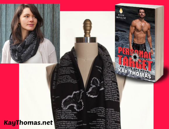 www.KayThomas.net Infinity Book Scarf giveaway celebrating print release of PERSONAL TARGET by Kay Thomas